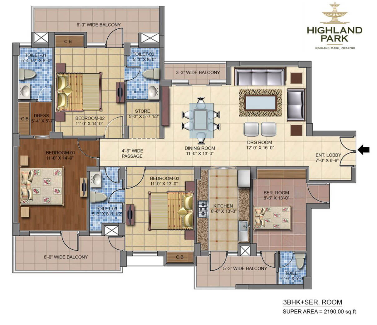 4 Bhk Luxury Flats In Zirakpur Highland Park Official Site